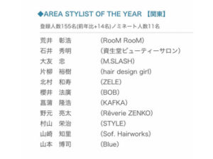 AREA STYLIST OF THE YEAR(関東)ノミネート!